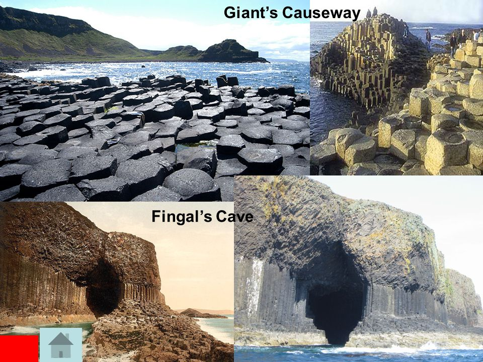 Fingal's Cave What? –is a sea cave on the uninhabited island of Staffa –It is formed entirely from hexagonally- jointed basalt columns, similar to the