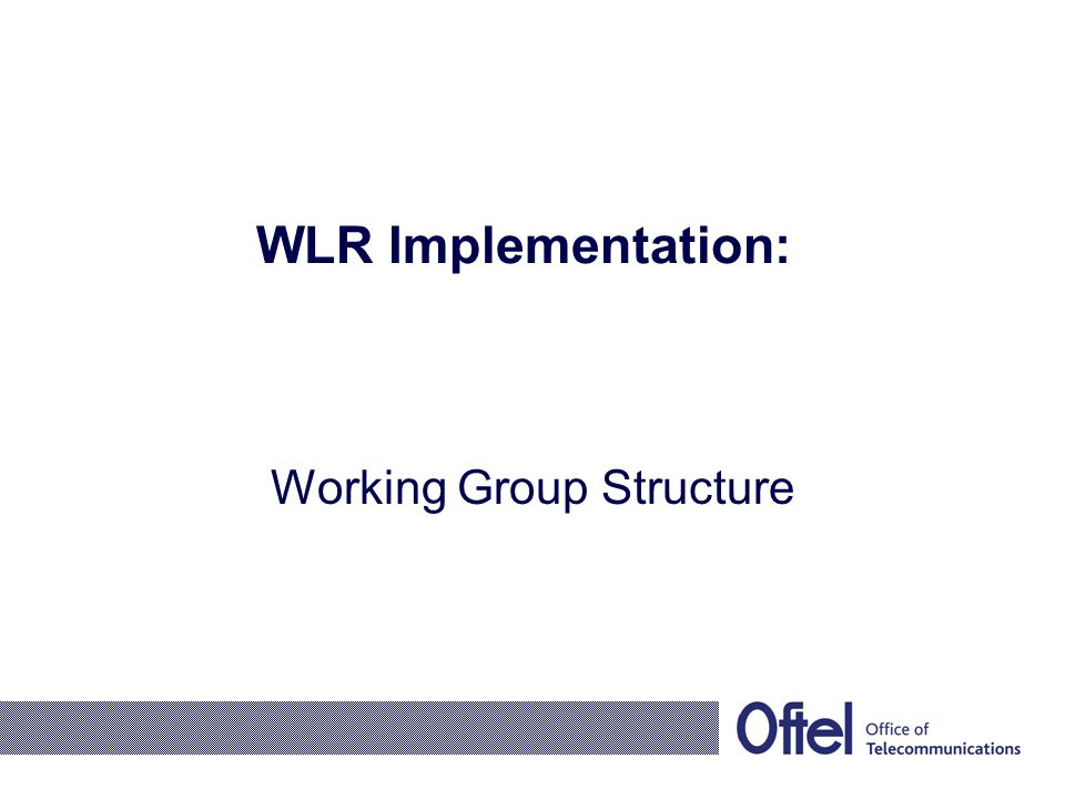 WLR Implementation: Working Group Structure