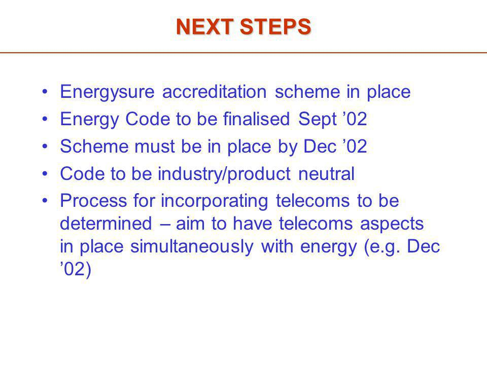 NEXT STEPS Energysure accreditation scheme in place Energy Code to be finalised Sept '02 Scheme must be in place by Dec '02 Code to be industry/product neutral Process for incorporating telecoms to be determined – aim to have telecoms aspects in place simultaneously with energy (e.g.