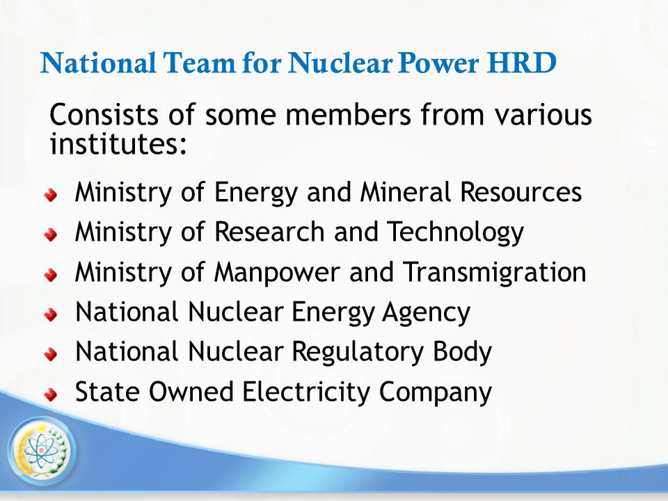 National Team for Nuclear Power HRD Consists of some members from various institutes: Ministry of Energy and Mineral Resources Ministry of Research an
