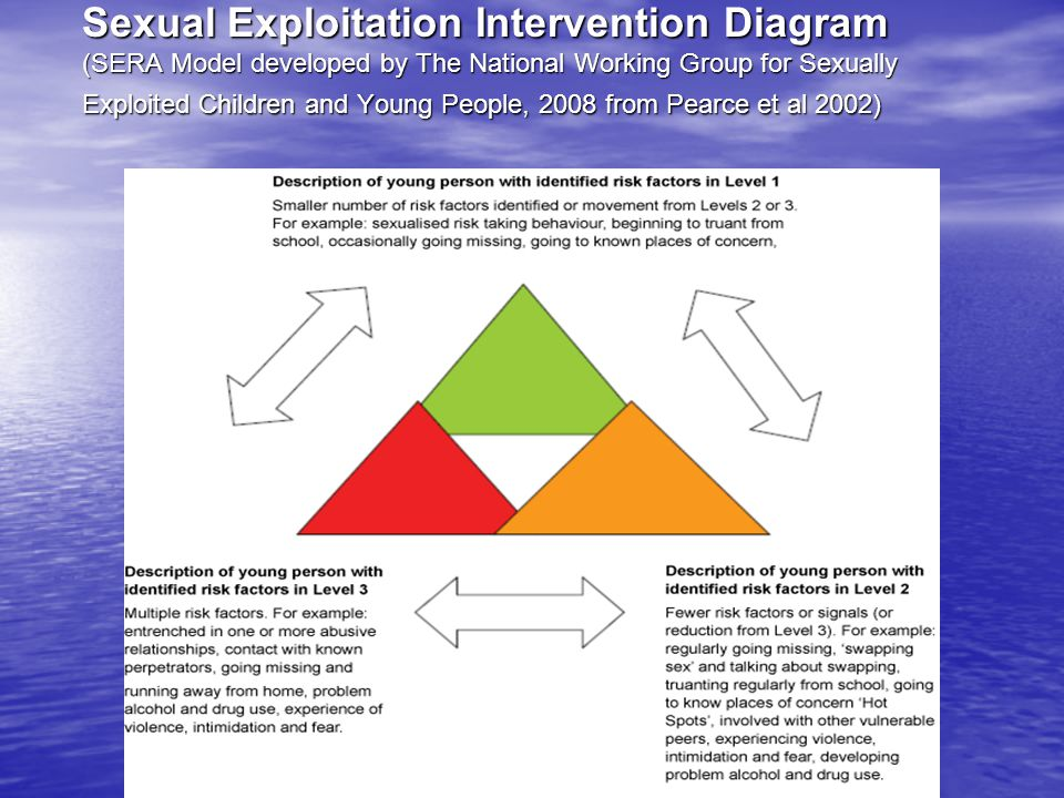 Sexual Exploitation Intervention Diagram (SERA Model developed by The National Working Group for Sexually Exploited Children and Young People, 2008 from Pearce et al 2002)