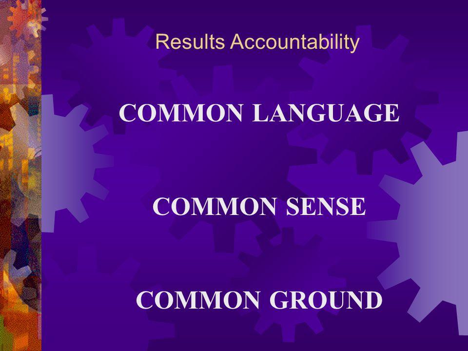 Results Accountability COMMON LANGUAGE COMMON SENSE COMMON GROUND