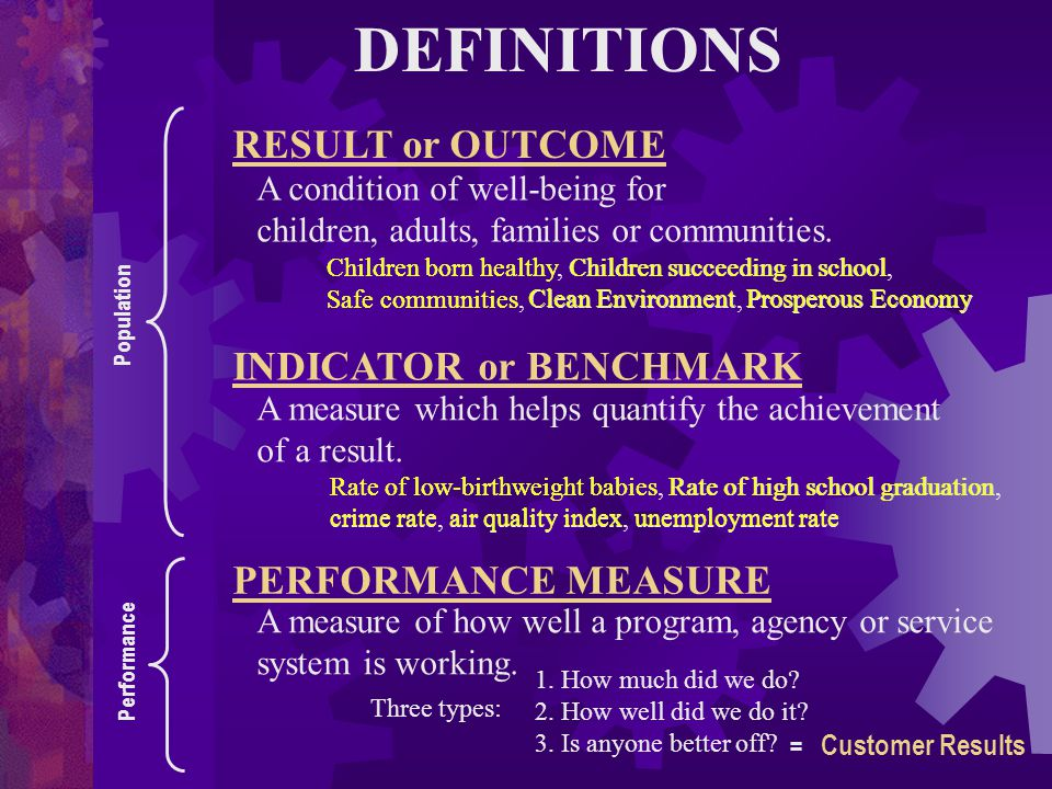 DEFINITIONS Children born healthy, Children succeeding in school, Safe communities, Clean Environment, Prosperous Economy Rate of low-birthweight babi