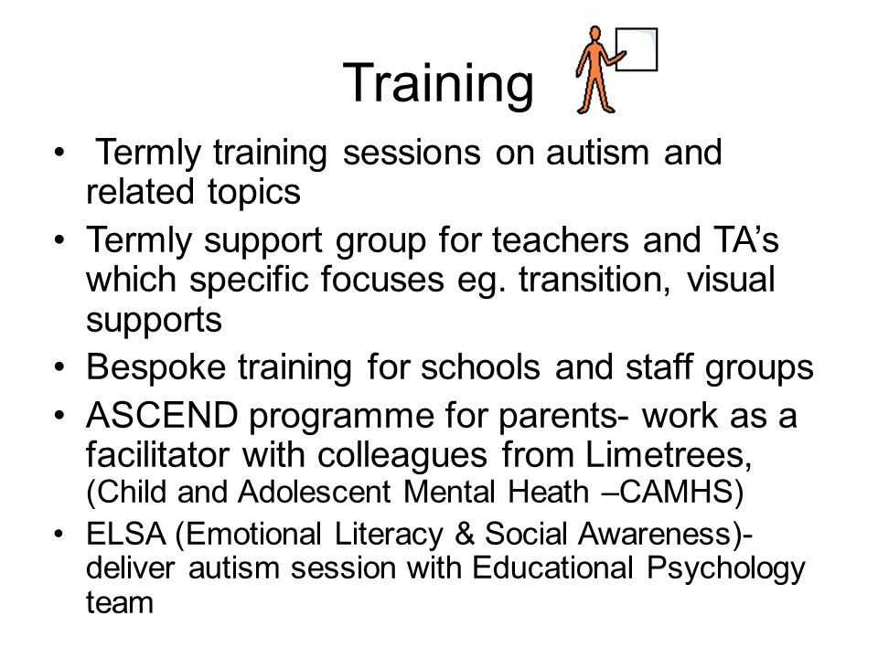 Training Termly training sessions on autism and related topics Termly support group for teachers and TA's which specific focuses eg. transition, visua