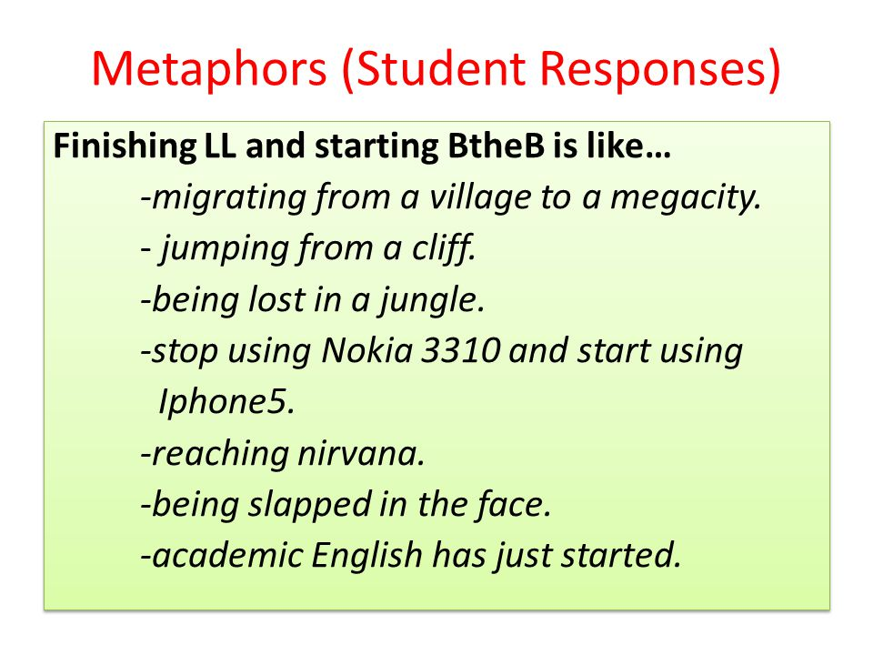 Metaphors (Student Responses) Finishing LL and starting BtheB is like… -migrating from a village to a megacity.