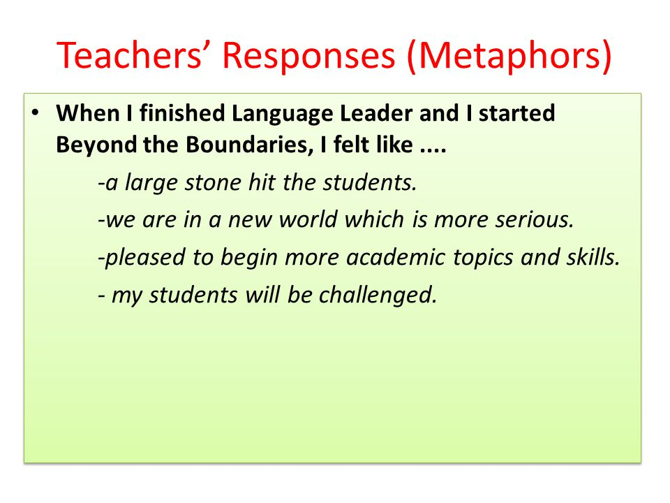 Teachers' Responses (Metaphors) When I finished Language Leader and I started Beyond the Boundaries, I felt like....