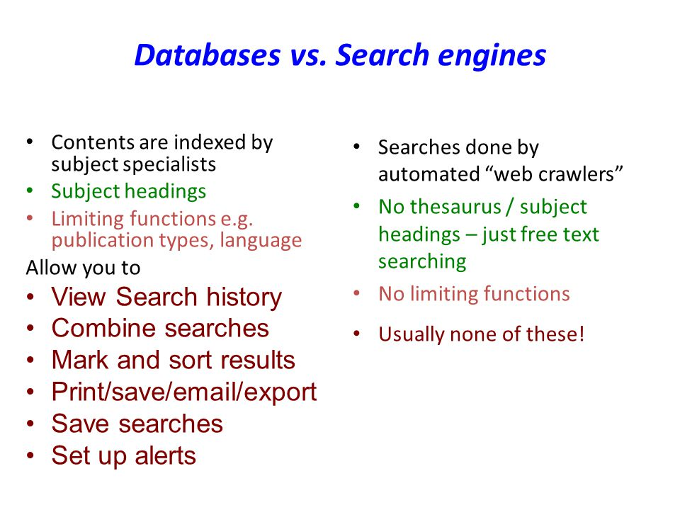 Databases vs. Search engines Contents are indexed by subject specialists Subject headings Limiting functions e.g. publication types, language Allow yo
