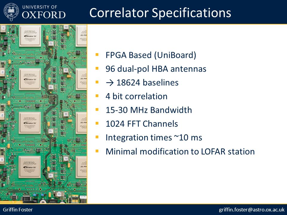 Griffin Fostergriffin.foster@astro.ox.ac.uk Correlator Specifications  FPGA Based (UniBoard)  96 dual-pol HBA antennas  → 18624 baselines  4 bit correlation  15-30 MHz Bandwidth  1024 FFT Channels  Integration times ~10 ms  Minimal modification to LOFAR station