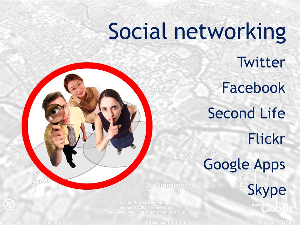 Second Life Facebook Skype Flickr Google Apps Twitter Networking Social networking
