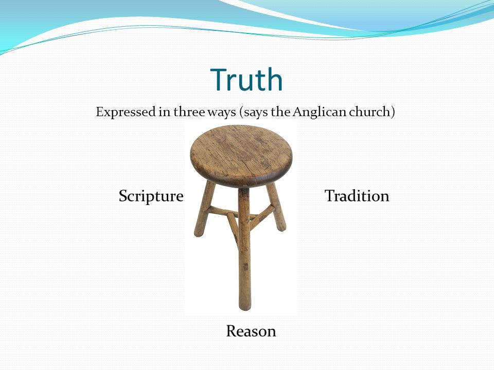 Truth Expressed in three ways (says the Anglican church) Scripture Tradition Reason