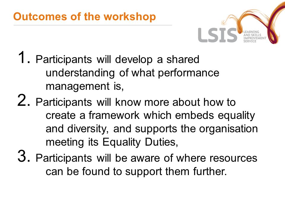 Outcomes of the workshop 1.