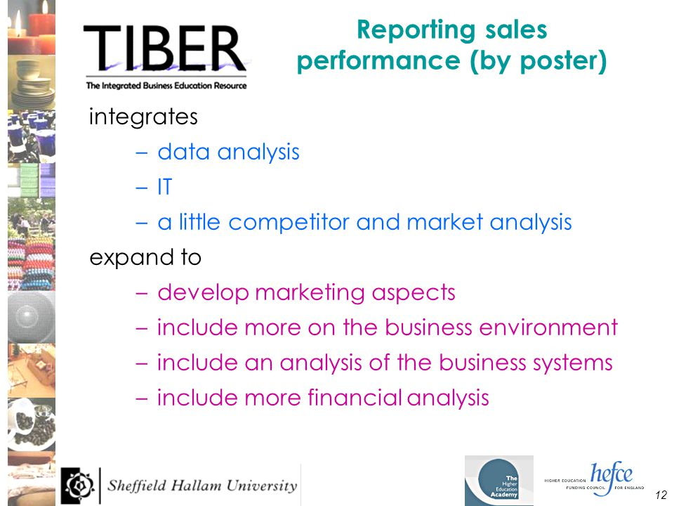 12 Reporting sales performance (by poster) integrates –data analysis –IT –a little competitor and market analysis expand to –develop marketing aspects –include more on the business environment –include an analysis of the business systems –include more financial analysis