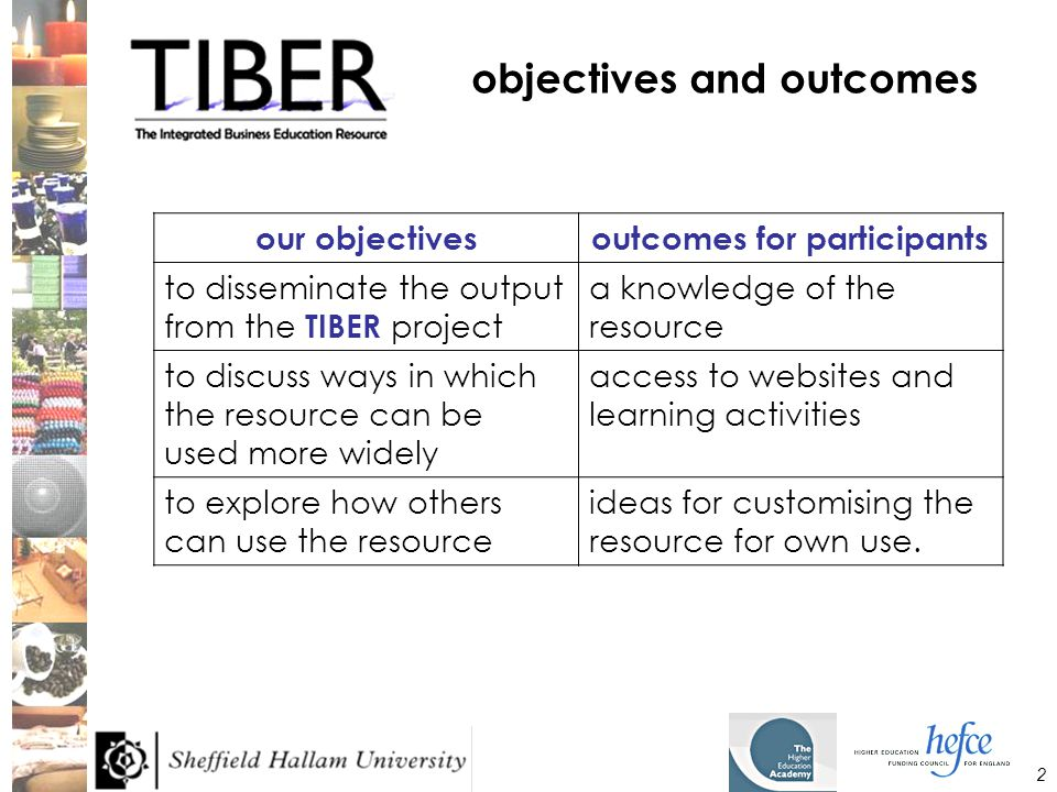 2 objectives and outcomes our objectivesoutcomes for participants to disseminate the output from the TIBER project a knowledge of the resource to discuss ways in which the resource can be used more widely access to websites and learning activities to explore how others can use the resource ideas for customising the resource for own use.