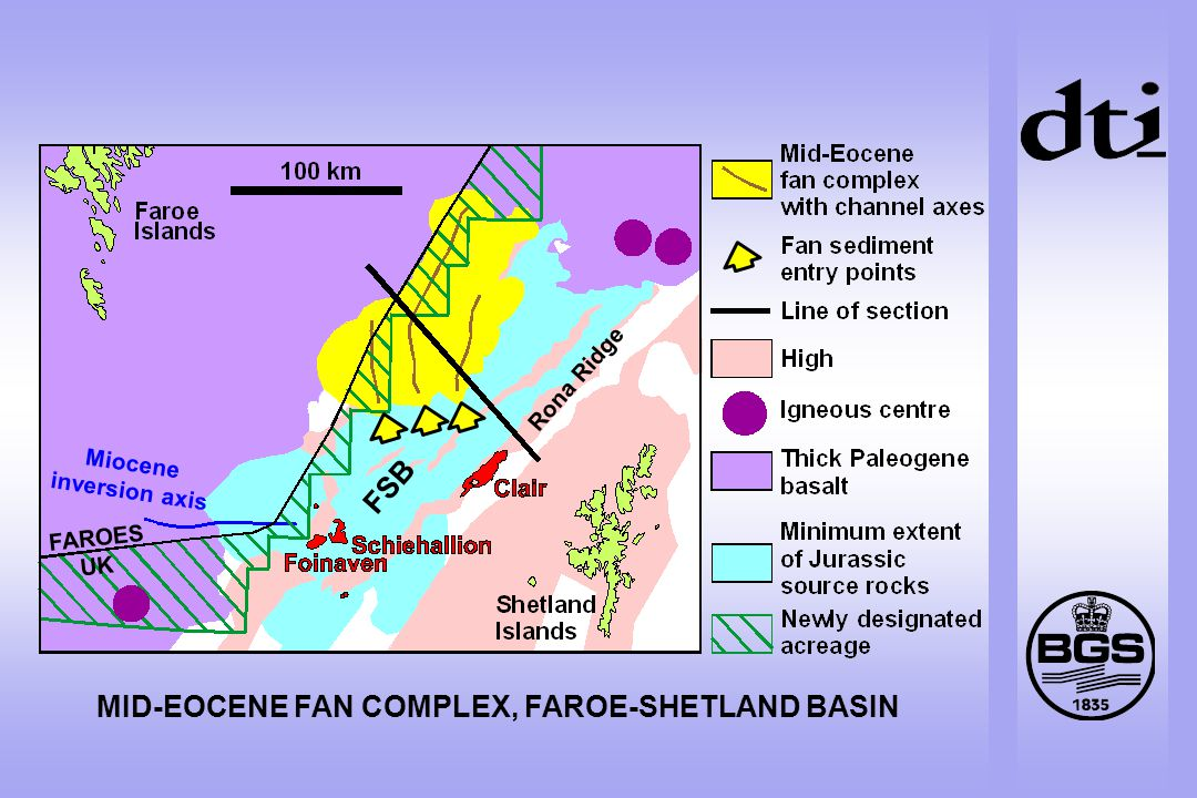 MID-EOCENE FAN COMPLEX, FAROE-SHETLAND BASIN Miocene inversion axis Rona Ridge FSB FAROES UK