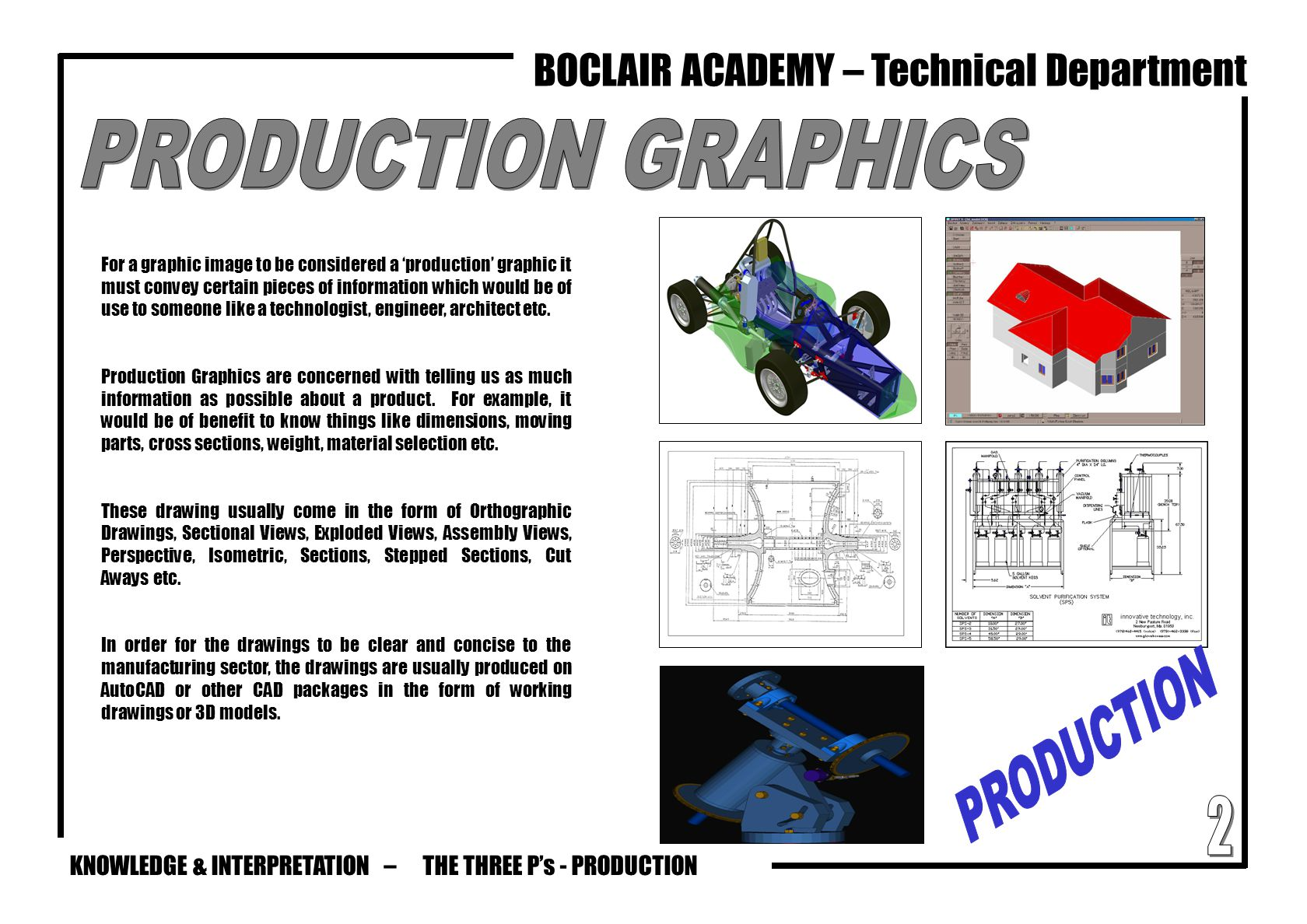 KNOWLEDGE & INTERPRETATION – BOCLAIR ACADEMY – Technical Department THE THREE P's - PRODUCTION For a graphic image to be considered a 'production' gra