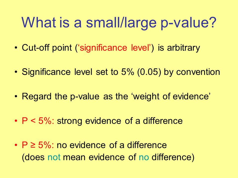 What is a small/large p-value.