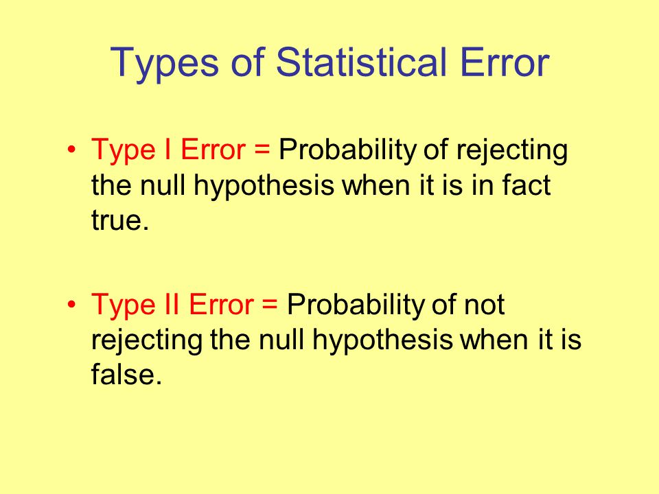 Types of Statistical Error Type I Error = Probability of rejecting the null hypothesis when it is in fact true.
