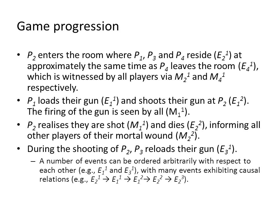 Game progression P 2 enters the room where P 1, P 3 and P 4 reside (E 2 1 ) at approximately the same time as P 4 leaves the room (E 4 1 ), which is witnessed by all players via M 2 1 and M 4 1 respectively.