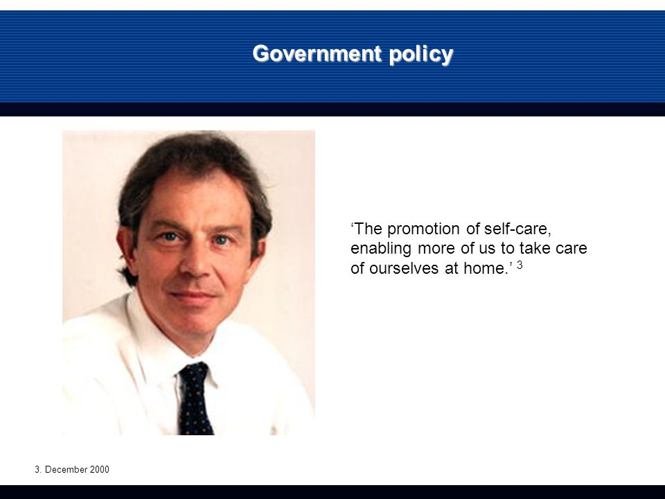 Government policy 'The promotion of self-care, enabling more of us to take care of ourselves at home.' 3 3.