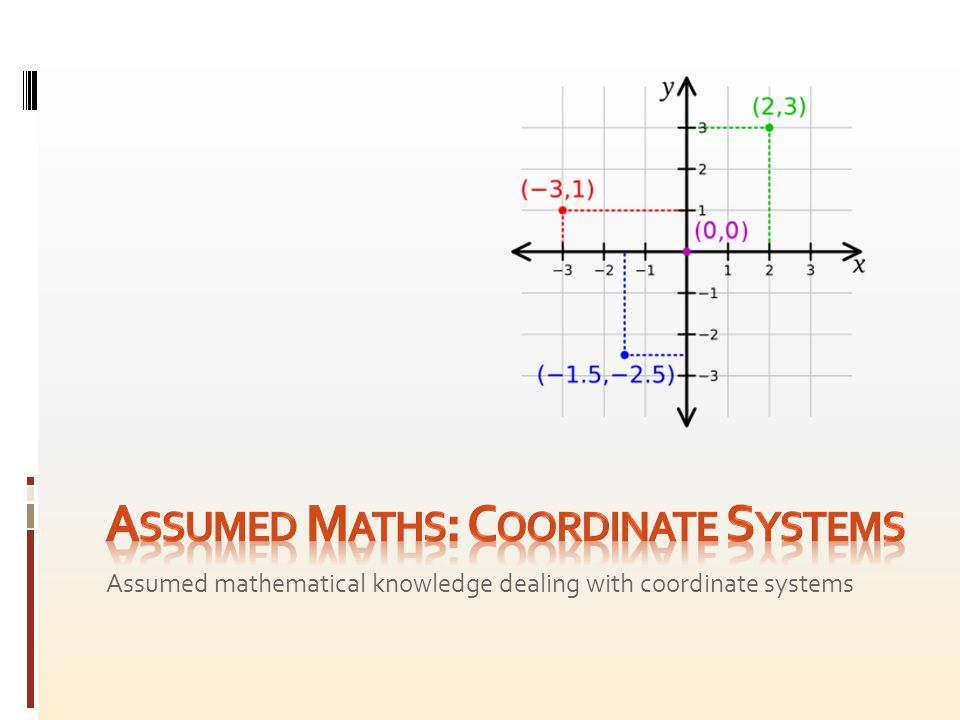 The location of a point in space can be described in terms of a coordinate system, defined using an origin reference point and a number of coordinate axes.