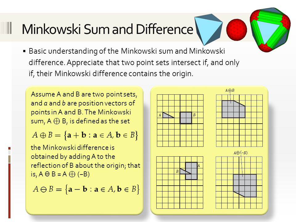  Basic understanding of the Minkowski sum and Minkowski difference.