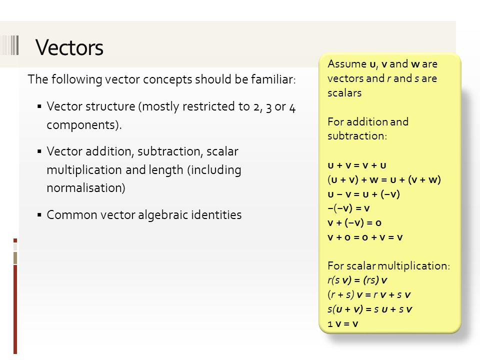 The following vector concepts should be familiar:  Vector structure (mostly restricted to 2, 3 or 4 components).