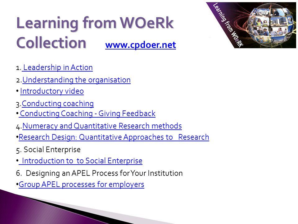 Learning from WOeRk Collection Collection www.cpdoer.net www.cpdoer.net 1. Leadership in Action Leadership in Action 2.Understanding the organisationU