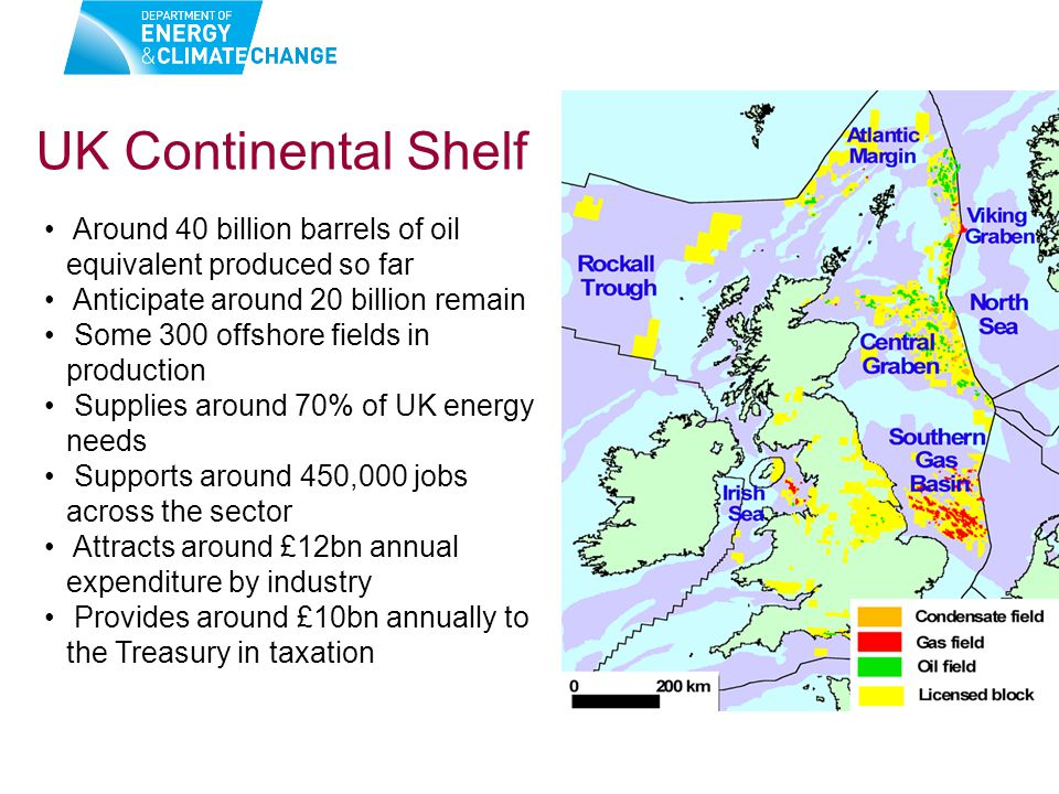 Around 40 billion barrels of oil equivalent produced so far Anticipate around 20 billion remain Some 300 offshore fields in production Supplies around 70% of UK energy needs Supports around 450,000 jobs across the sector Attracts around £12bn annual expenditure by industry Provides around £10bn annually to the Treasury in taxation UK Continental Shelf