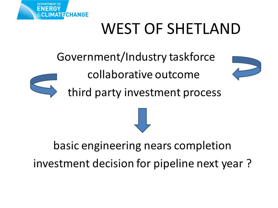 WEST OF SHETLAND Government/Industry taskforce collaborative outcome third party investment process basic engineering nears completion investment decision for pipeline next year