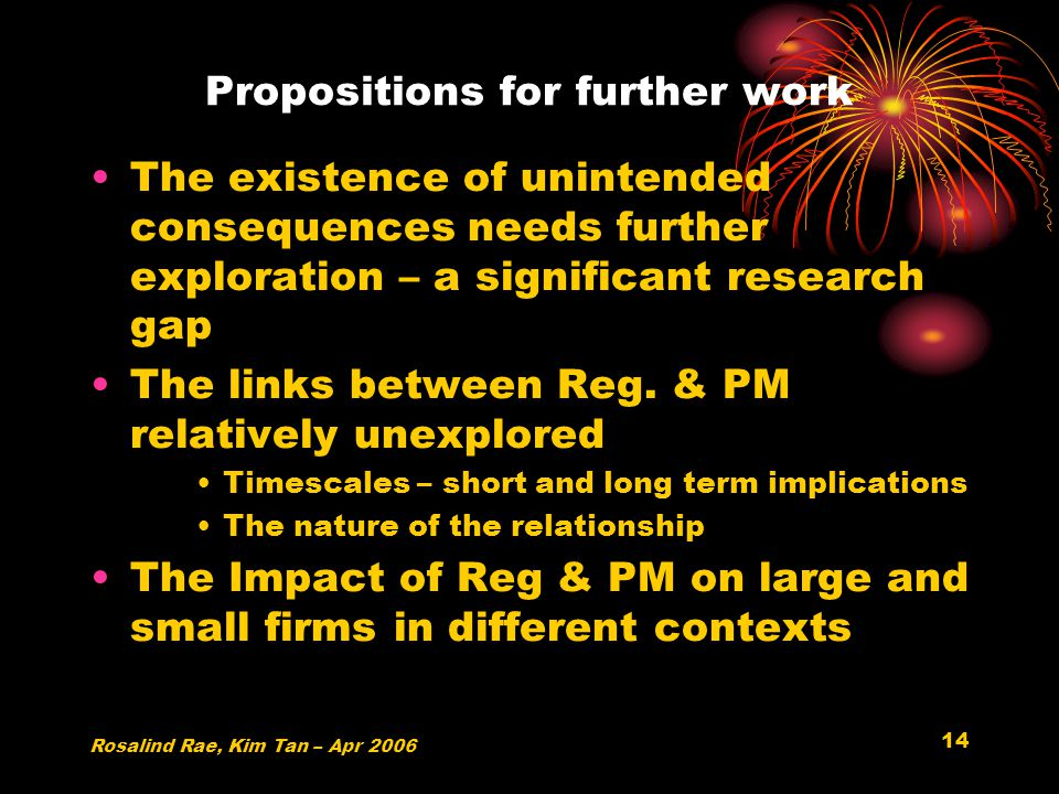 14 Propositions for further work The existence of unintended consequences needs further exploration – a significant research gap The links between Reg.
