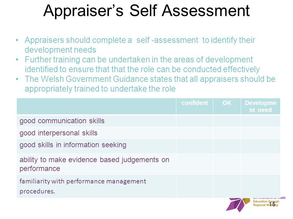 Appraiser's Self Assessment confidentOKDevelopme nt need good communication skills good interpersonal skills good skills in information seeking abilit