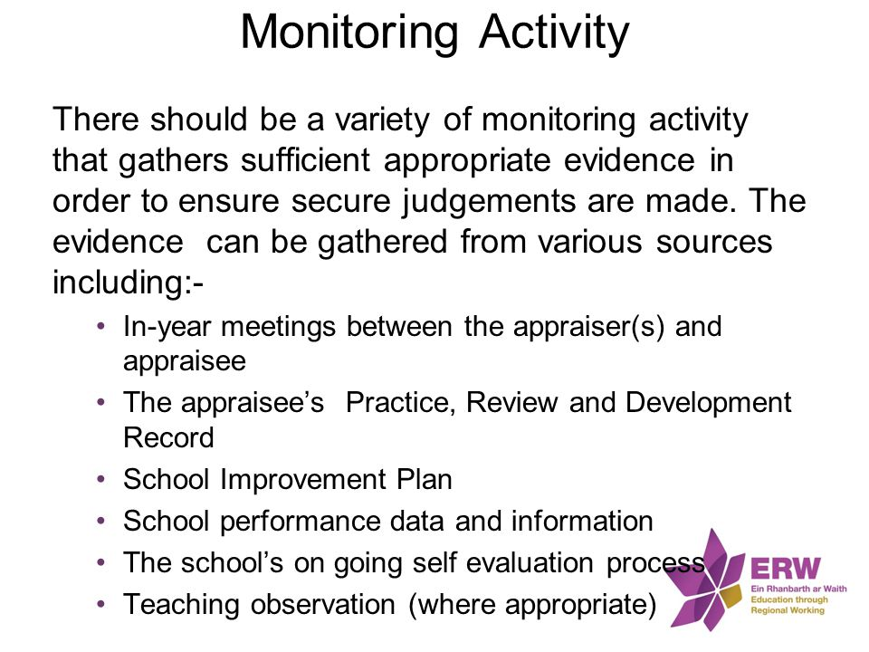 Monitoring Activity There should be a variety of monitoring activity that gathers sufficient appropriate evidence in order to ensure secure judgements