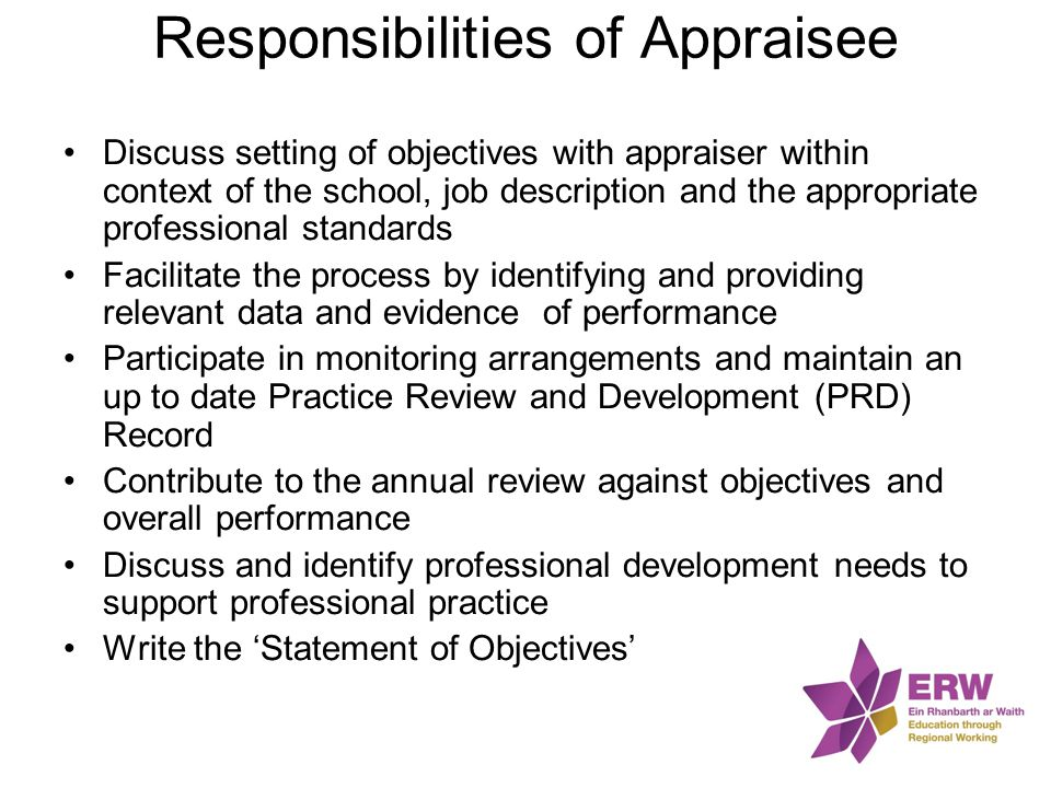 Responsibilities of Appraisee Discuss setting of objectives with appraiser within context of the school, job description and the appropriate professio