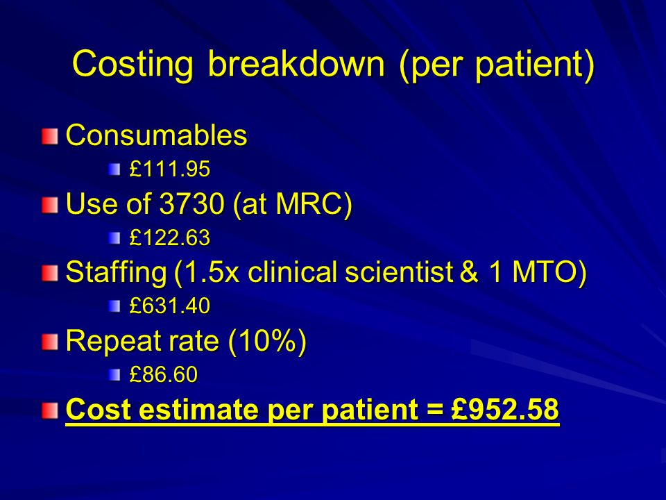 Costing breakdown (per patient) Consumables £111.95 £111.95 Use of 3730 (at MRC) £122.63 £122.63 Staffing (1.5x clinical scientist & 1 MTO) £631.40 £631.40 Repeat rate (10%) £86.60 £86.60 Cost estimate per patient = £952.58