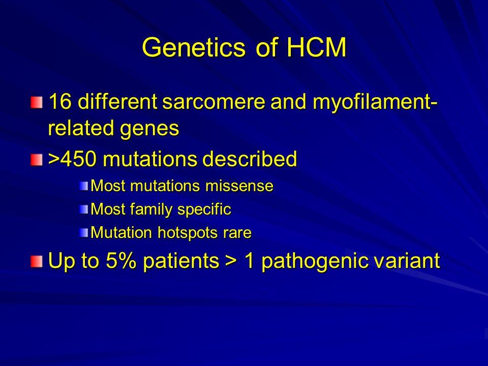 Mutation Distribution GeneLocus % of cases MYH714q1244 MYBPC311p11.235 TNNT21q327 TNNI319q13.45 TPM115q22.12.5 MYL212q24.32 MYL33p211 ACTC115q141 TTN2q31<1 CSPR311p15.1<1 TCAP17q21<1 MYOZ24q26<1 VCL10q22.1<1