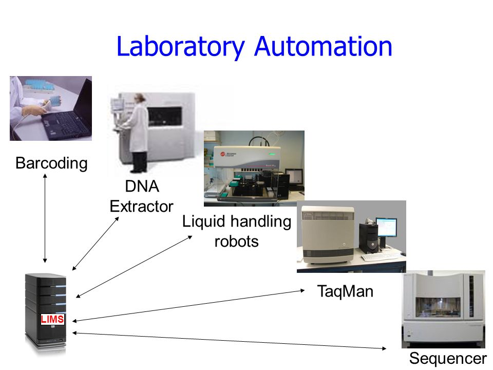 Laboratory Automation DNA Extractor Barcoding Liquid handling robots Sequencer LIMS TaqMan