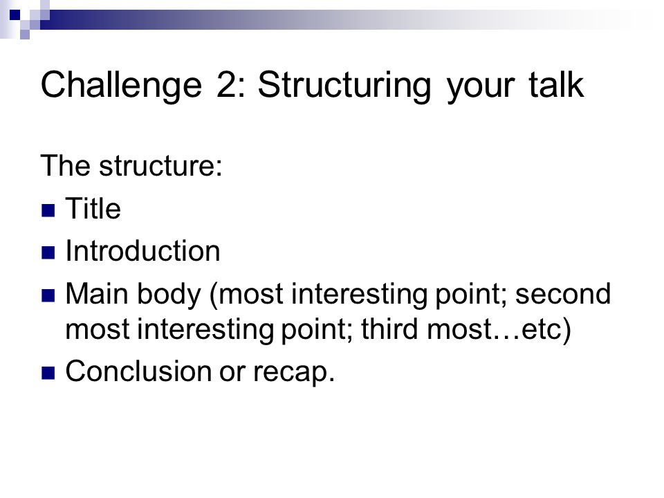 Preparing a lecture from your research: step 1 (individual reflection) 5 minutes 1.