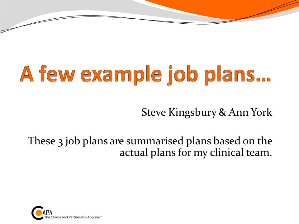 Steve Kingsbury & Ann York These 3 job plans are summarised plans based on the actual plans for my clinical team.