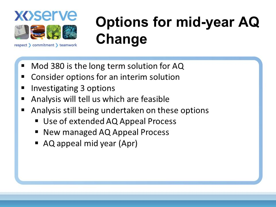  Mod 380 is the long term solution for AQ  Consider options for an interim solution  Investigating 3 options  Analysis will tell us which are feasible  Analysis still being undertaken on these options  Use of extended AQ Appeal Process  New managed AQ Appeal Process  AQ appeal mid year (Apr) Options for mid-year AQ Change