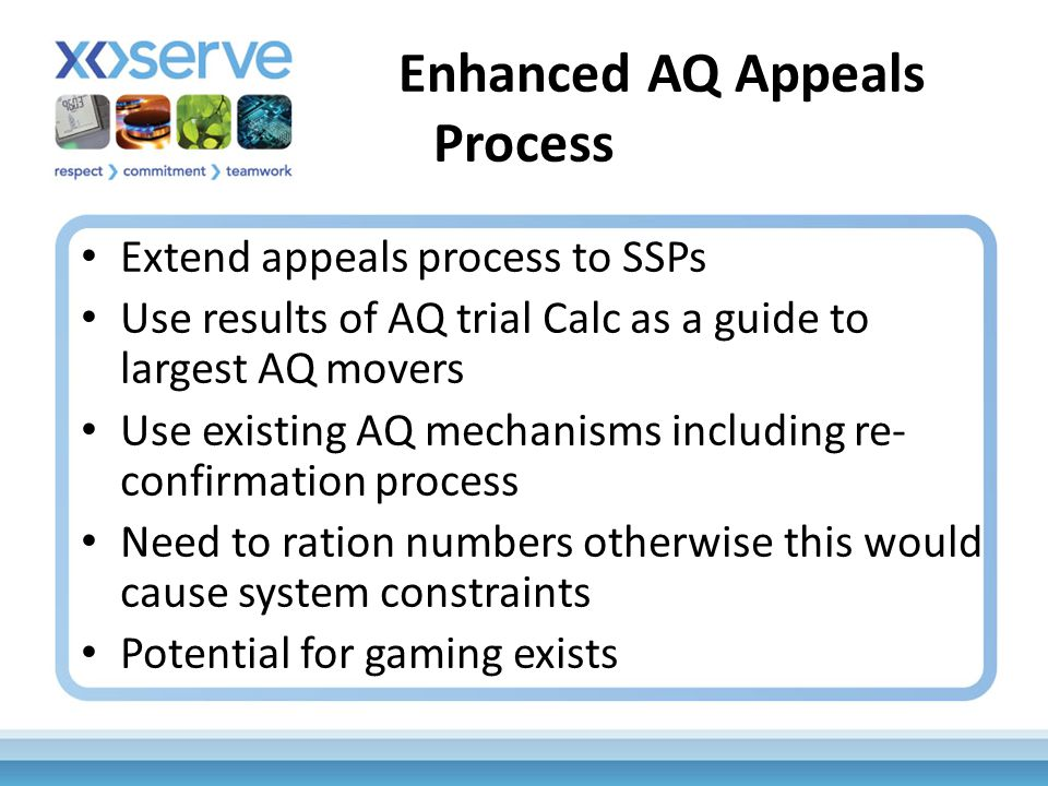 Enhanced AQ Appeals Process Extend appeals process to SSPs Use results of AQ trial Calc as a guide to largest AQ movers Use existing AQ mechanisms including re- confirmation process Need to ration numbers otherwise this would cause system constraints Potential for gaming exists