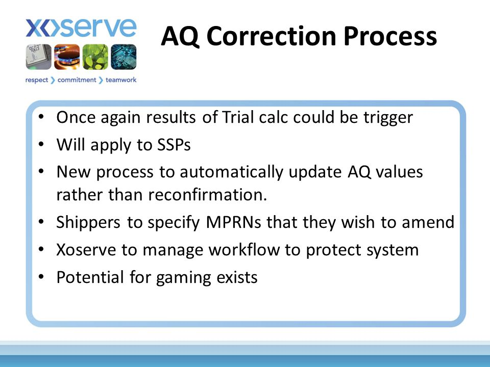 AQ Correction Process Once again results of Trial calc could be trigger Will apply to SSPs New process to automatically update AQ values rather than reconfirmation.