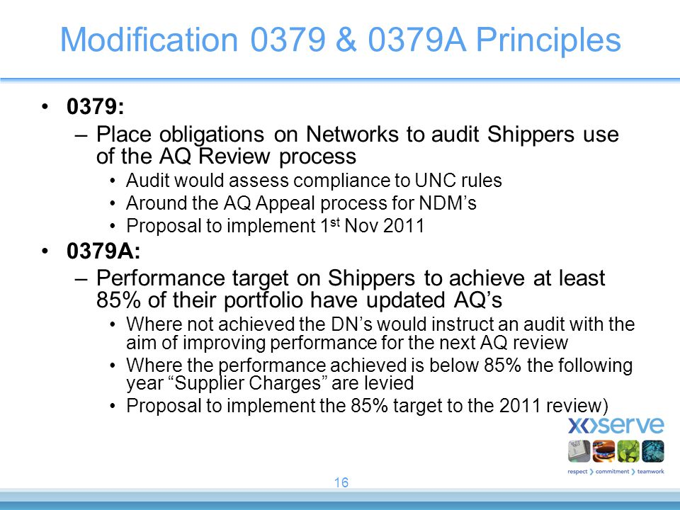16 Modification 0379 & 0379A Principles 0379: –Place obligations on Networks to audit Shippers use of the AQ Review process Audit would assess complia