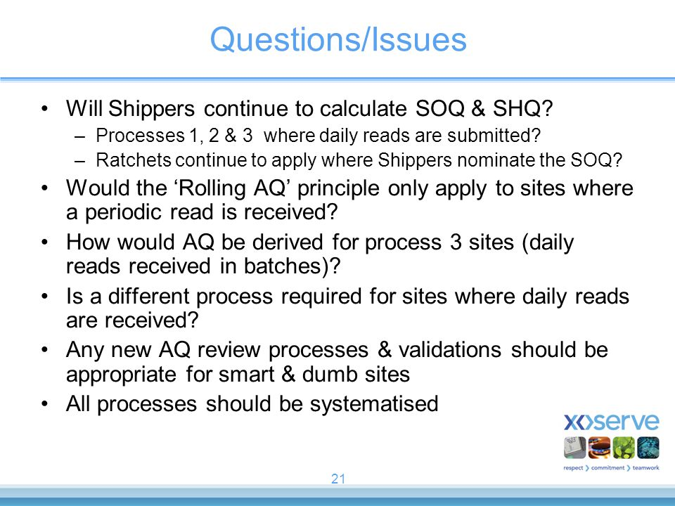 21 Questions/Issues Will Shippers continue to calculate SOQ & SHQ.