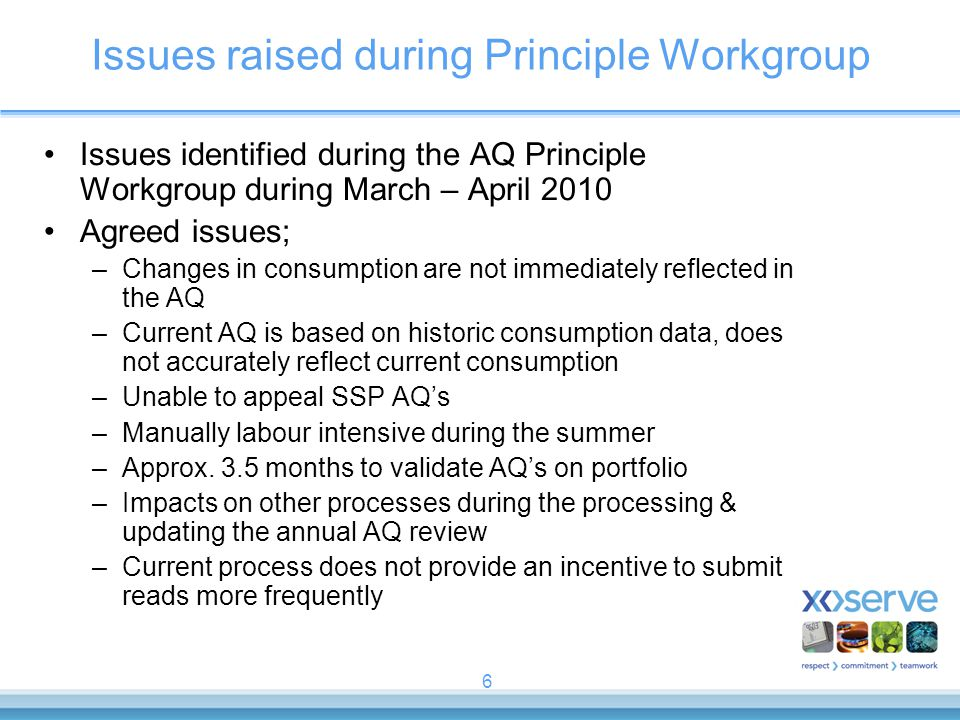 6 Issues raised during Principle Workgroup Issues identified during the AQ Principle Workgroup during March – April 2010 Agreed issues; –Changes in consumption are not immediately reflected in the AQ –Current AQ is based on historic consumption data, does not accurately reflect current consumption –Unable to appeal SSP AQ's –Manually labour intensive during the summer –Approx.