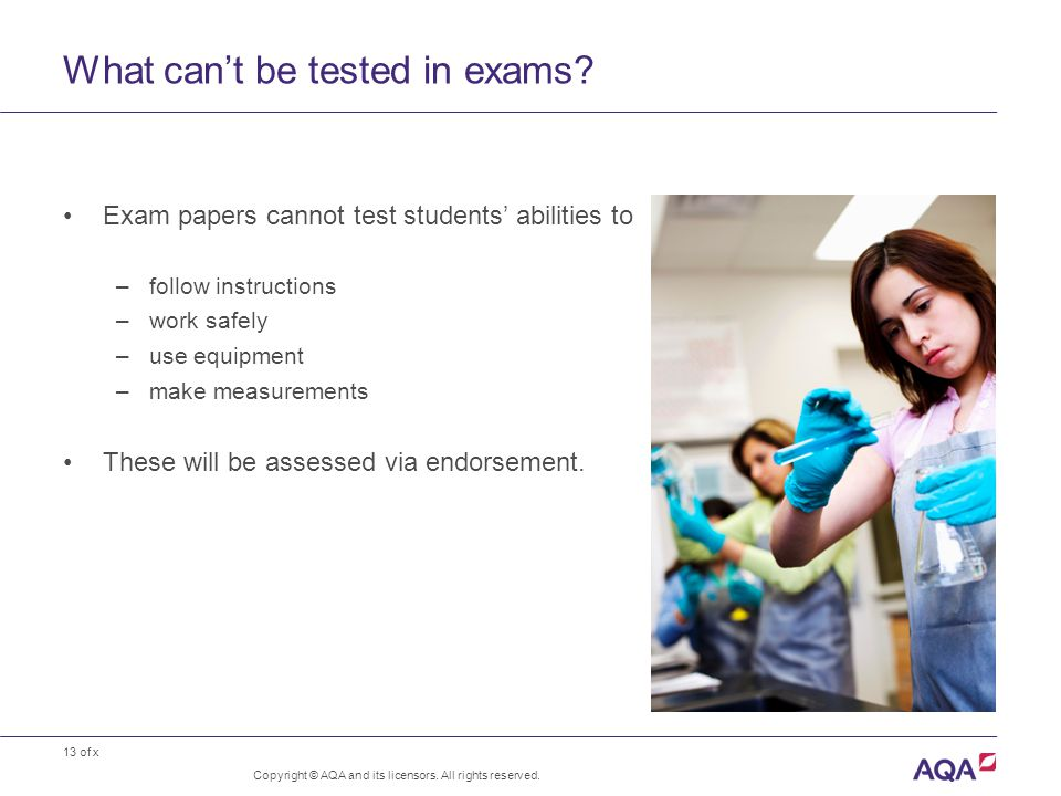 13 of x What can't be tested in exams. Copyright © AQA and its licensors.