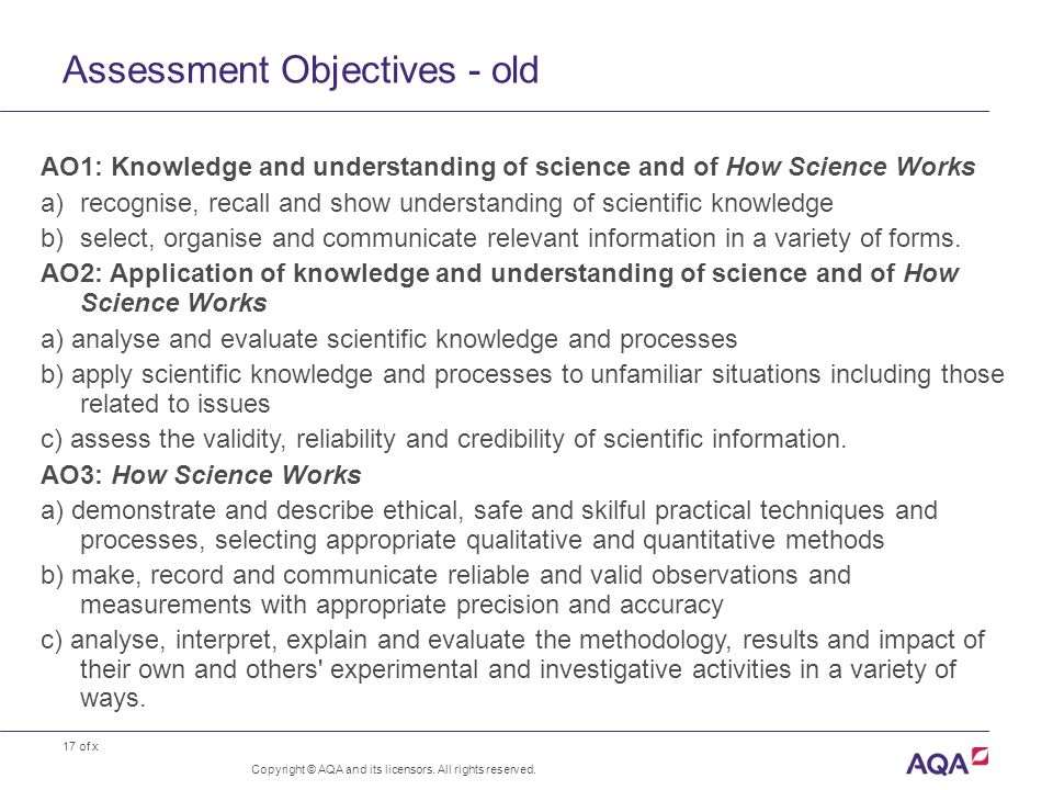 17 of x Assessment Objectives - old Copyright © AQA and its licensors. All rights reserved. AO1: Knowledge and understanding of science and of How Sci
