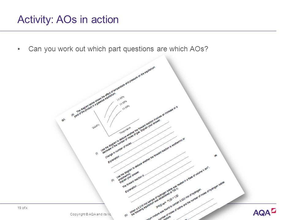 19 of x Activity: AOs in action Copyright © AQA and its licensors.