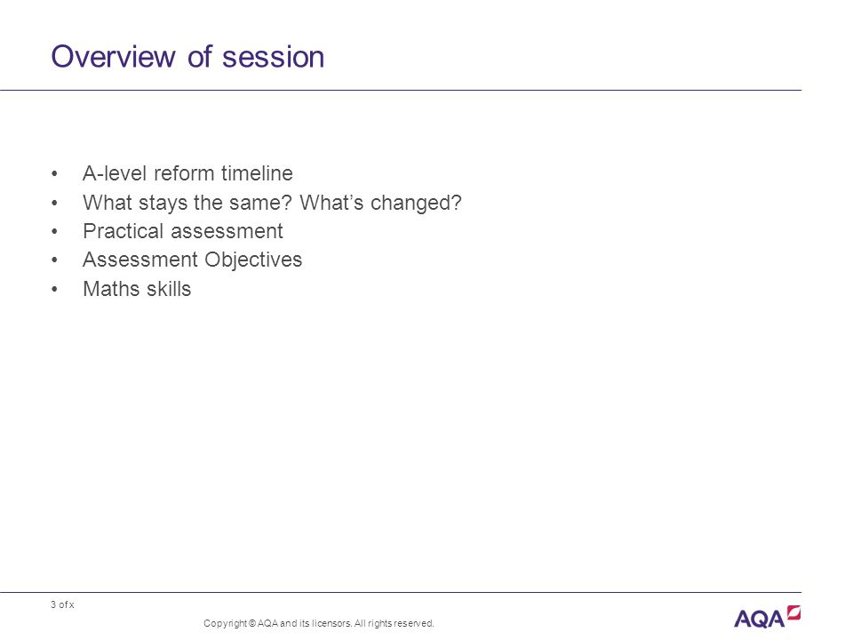 3 of x Overview of session A-level reform timeline What stays the same? What's changed? Practical assessment Assessment Objectives Maths skills Copyri