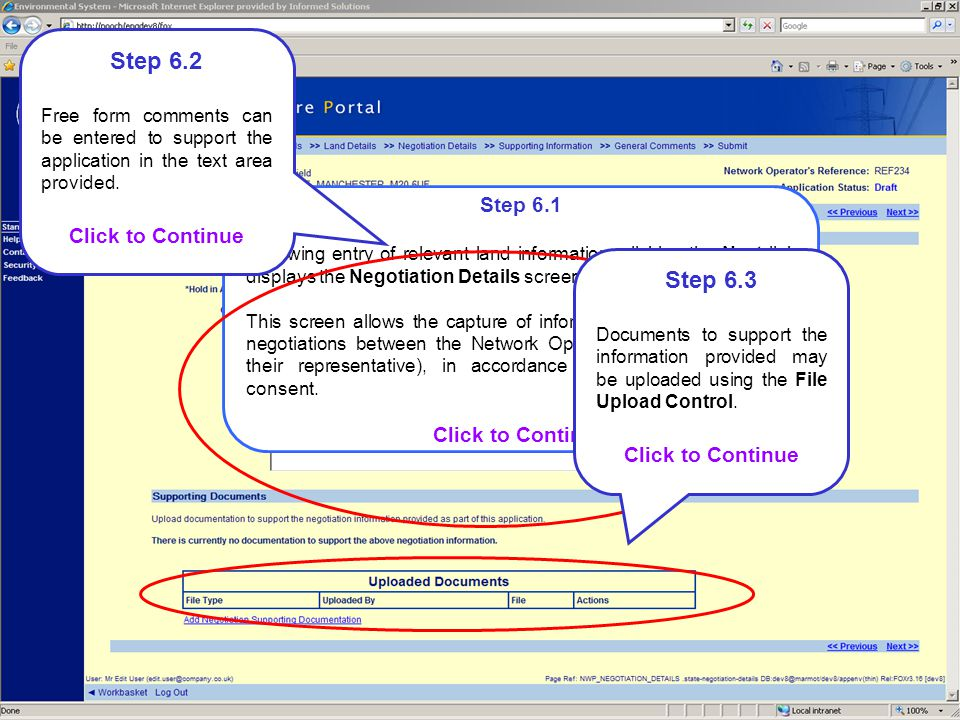 Step 6.1 Following entry of relevant land information, clicking the Next link displays the Negotiation Details screen.
