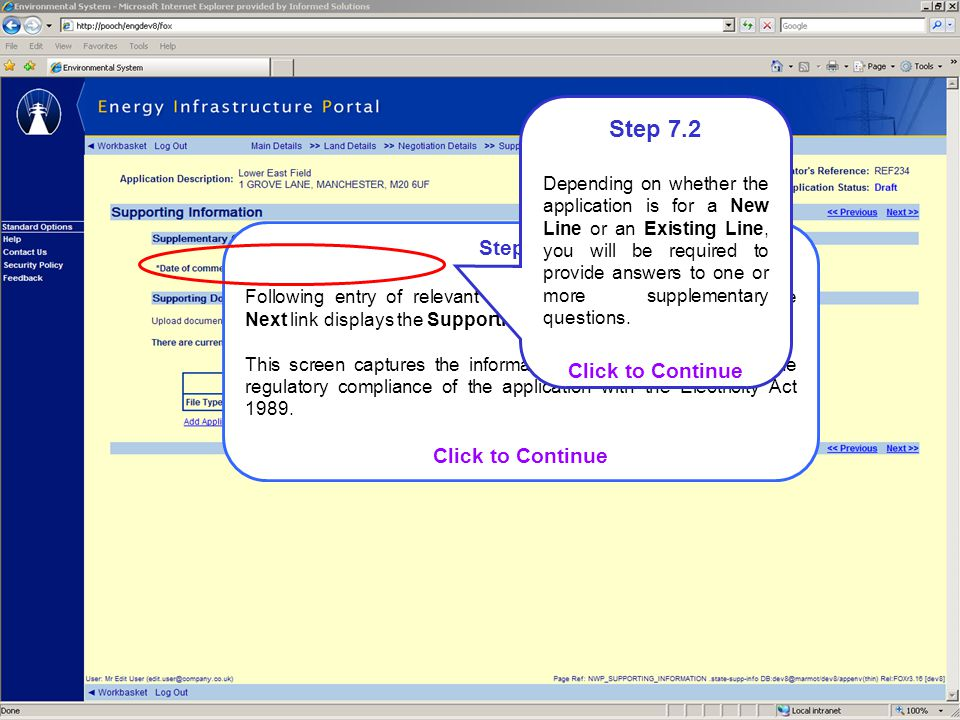 Step 7.1 Following entry of relevant negotiation information, clicking the Next link displays the Supporting Information screen.